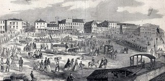 An early view of the Louisville wharf.