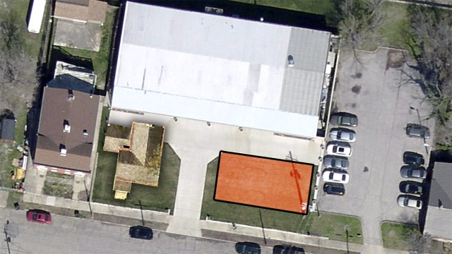 Mock-up of the potential location of the Hoke House and a new 4-story structure. (Montage by Broken Sidewalk)