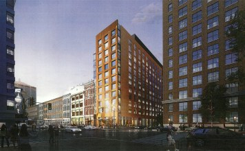 (Rendering of a dual-hotel tower at First and Main streets. (Courtesy HKS Hospitality)