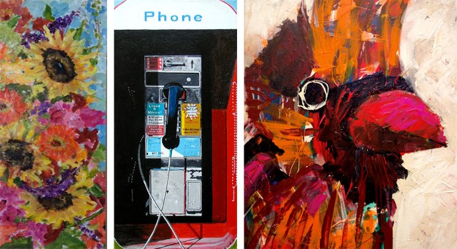 Left to right: Connie Sandusky's Full Bloom; David Walinski's Phone; and Andy Perez's Cardinal. (Courtesy Louisville Downtown Partnership)