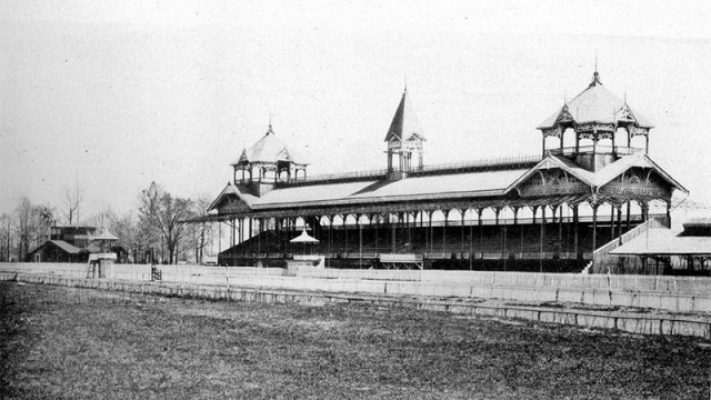 The original grandstand at Churchill Downs looks very different than today's.