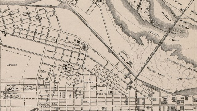 1873 map of Louisville showing Elm Tree Garden on Shippingport Island.
