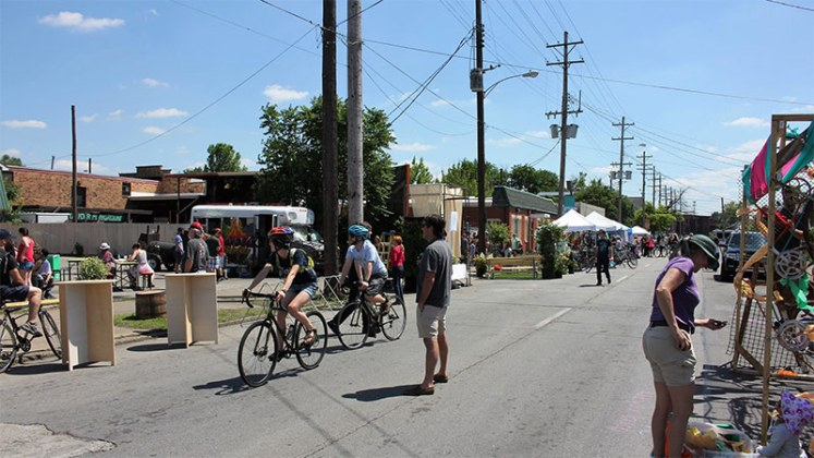 Lots of installations to re-imagine the street at Better Block. (Courtesy Shelby Park Neighborhood Association)