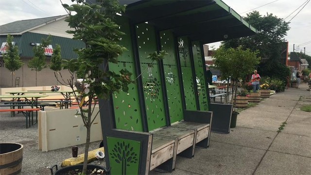 Shelby Park's unique bus stop at Logan and Oak. (Courtesy Center for Neighborhoods)