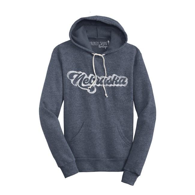 nebraska hoodie, vintage, style, eco, friendly, organic, recycled, navy, broken spoke boutique, shopping, valentine, nearbska, midwest