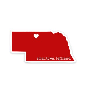 vinyl sticker, nebraska, valentine, small town, broken spoke boutique
