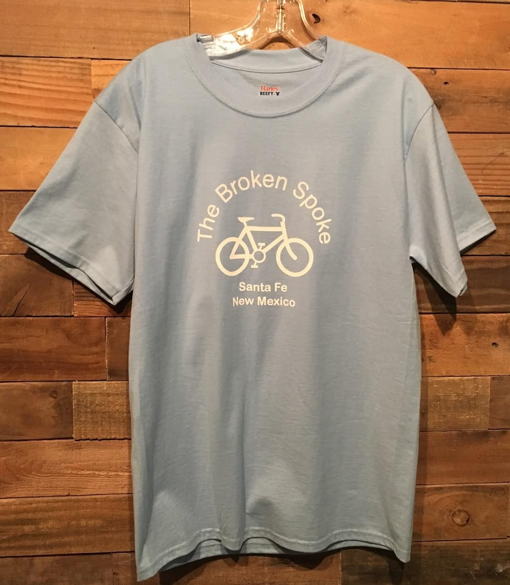 Men's Broken Spoke T Shirt Logo Front Light Blue