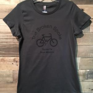 Women's Broken Spoke T Shirt Logo Front Charcoal w/ Black