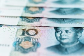 Group of Chinese paper currency.