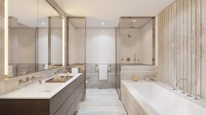 Master Bathroom, Three Waterline Square. Credit: WaterlineSquare.com