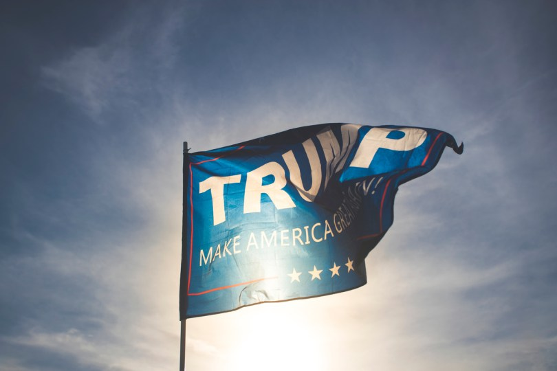Las Vegas, USA - November 6, 2016: An editorial stock photo of a Trump flag. Photographed during just before sunset in Las Vegas, Nevada. Photographed using the Canon EOS 1DX Mark II.