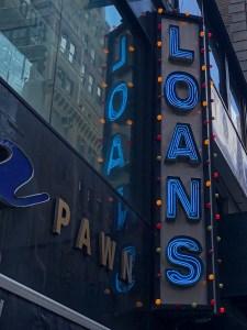 Pawn shop loan sign