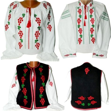costum national romania motiv strugure
