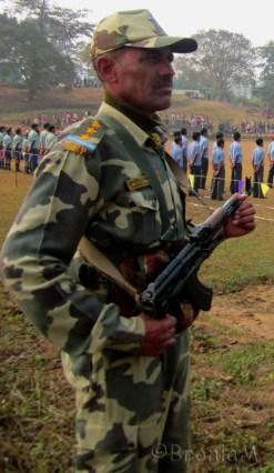 Man in green. A CRPF jawan standing guard.