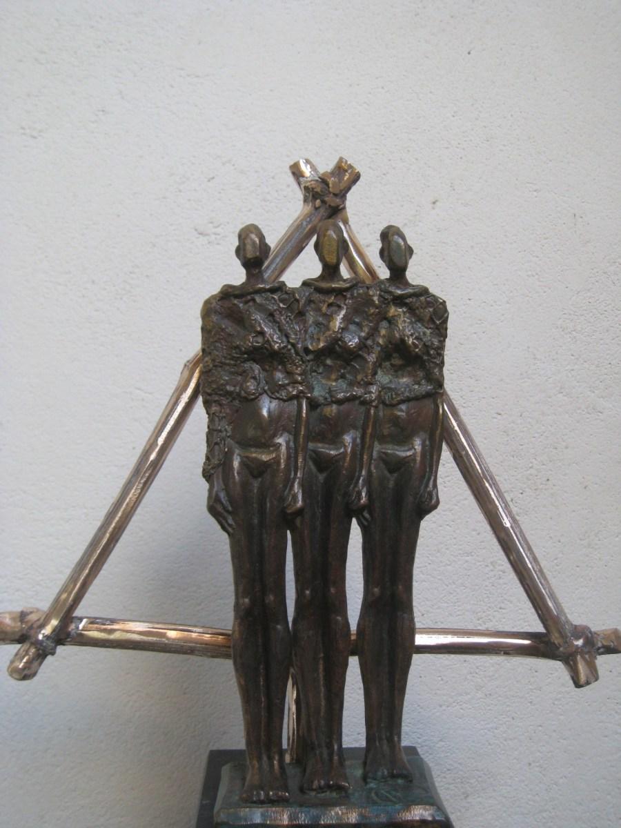 3-eenheid in brons HET BEGIN, Collectie Connected, .Atelier de Jutteakker - Rita Oostendorp-Boudewijn