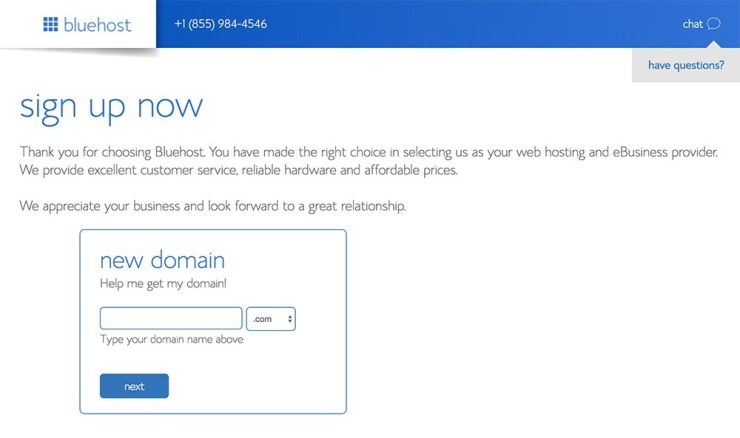 Searching for a domain at Bluehost