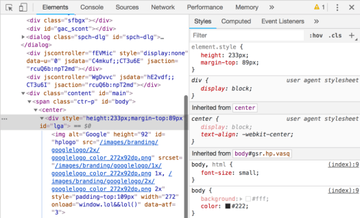 Elements option in Chrome development tools