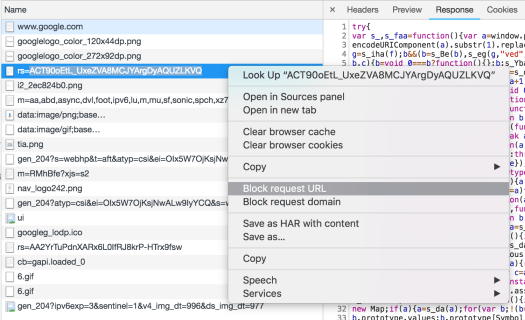 Block resource in Chrome development tools