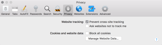 Safari Privacy preferences