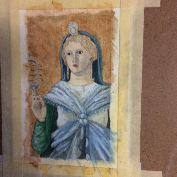 Roman Isis WIP First Oils by Bronwen MacDonald