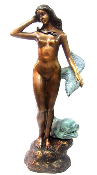 Bronze Nude & Fish Fountain