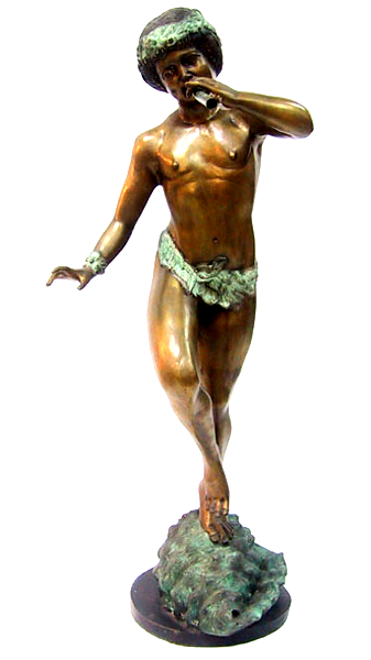 Bronze Boy Blowing Flute Statue