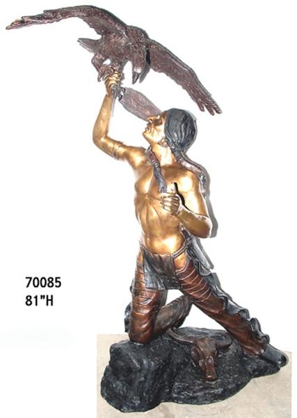 Bronze Indian & Eagle Statue