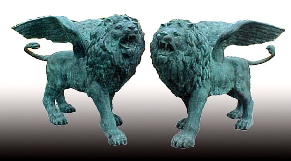 Bronze Winged Lion Statues