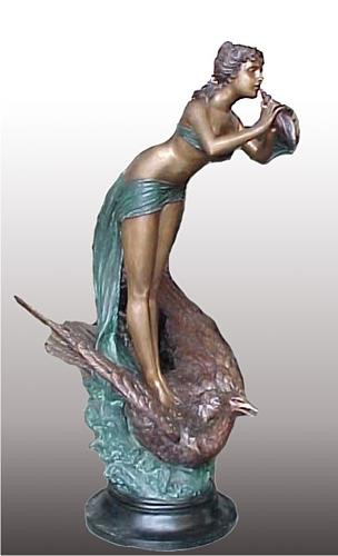 Bronze Girl on Swan Statue
