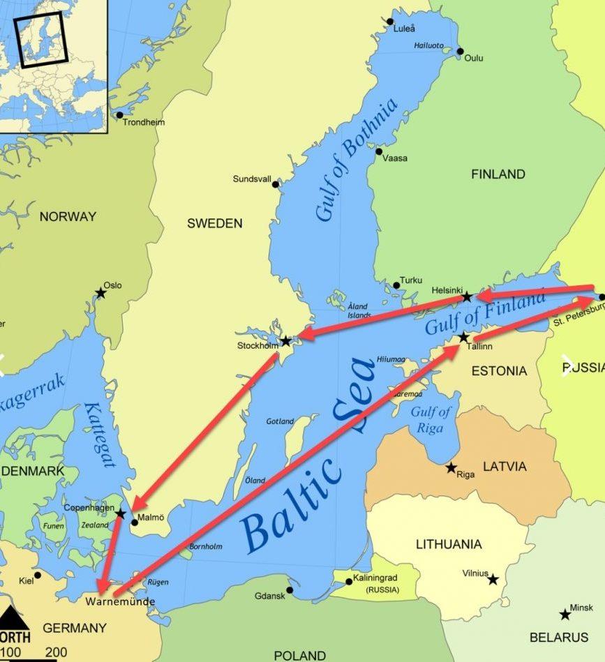 北歐波羅的海航程圖