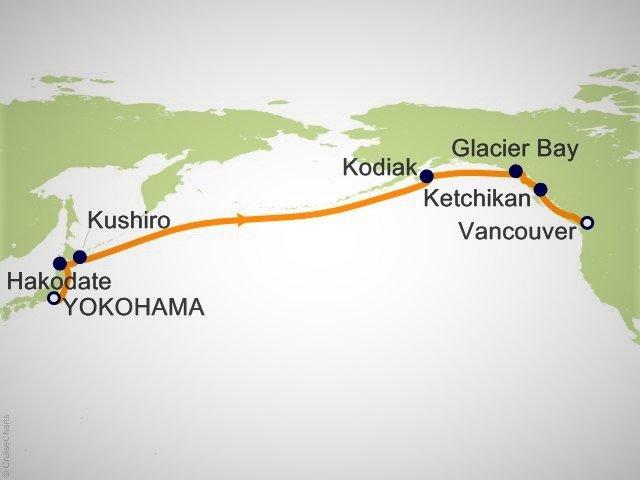 橫濱到溫哥華的跨大西洋航線圖例