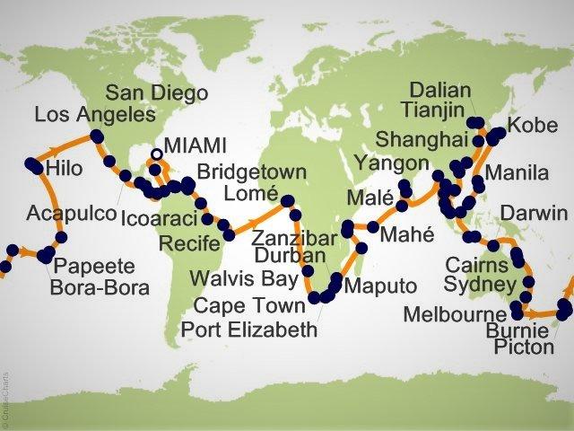 環遊世界郵輪 - 環球郵輪航程地圖