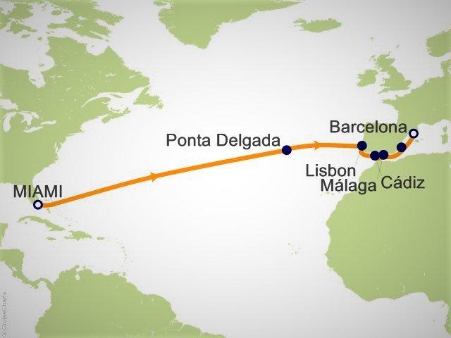 跨大西洋邮轮航程图