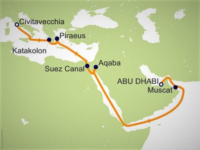 穿越苏伊士运河邮轮航程图