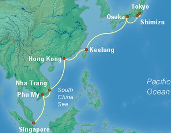 郵輪航線 - 新加坡航向東京圖例