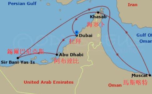 MSC 中東航程圖