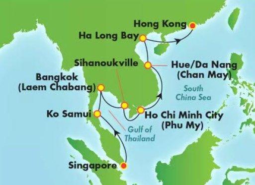 邮轮旅游 新加坡到香港2019年13天内舱含税3万