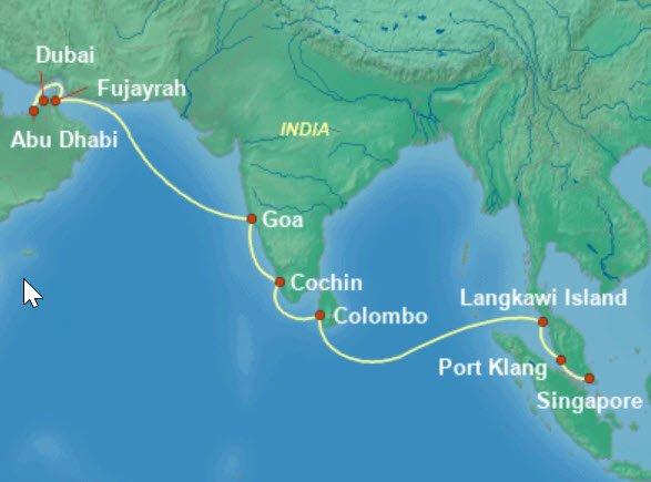 威尼斯號杜拜到新加坡航程圖