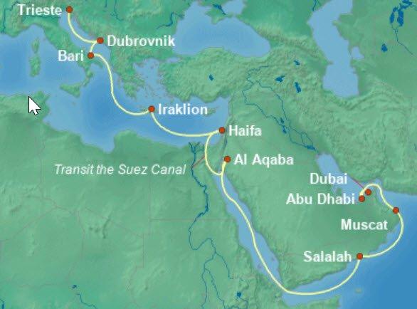 威尼斯号义大利的里雅斯特到杜拜航程图