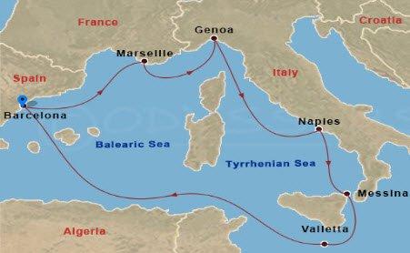 MSC嘉丽号 - 3/15嘉丽号西地中海航行地图