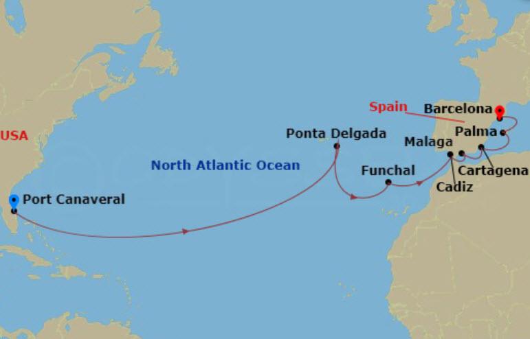 郵輪航線 - 跨大西洋郵輪航線圖例