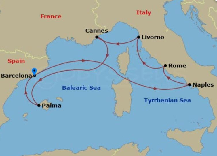 西班牙熟齡遊學 - NCL Epic 航程圖