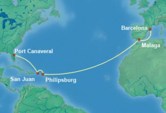郵輪清艙 - 海洋綠洲號航程圖