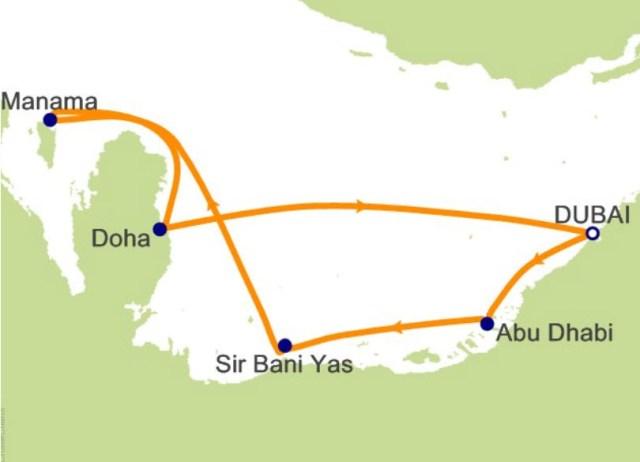 中东阿拉伯邮轮航程图