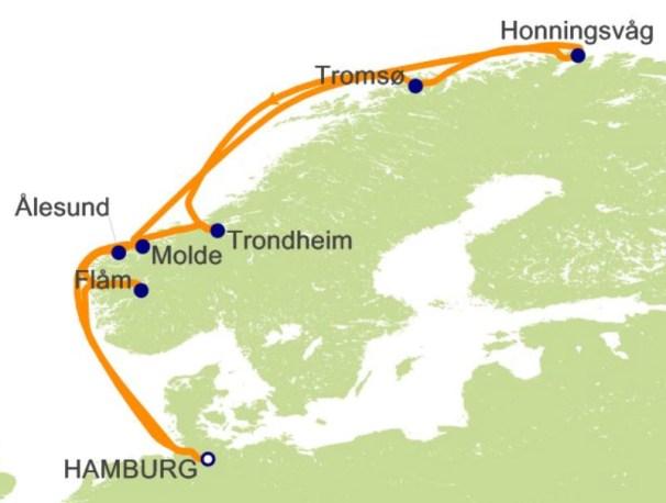 環遊世界郵輪 - 挪威峽灣航程圖