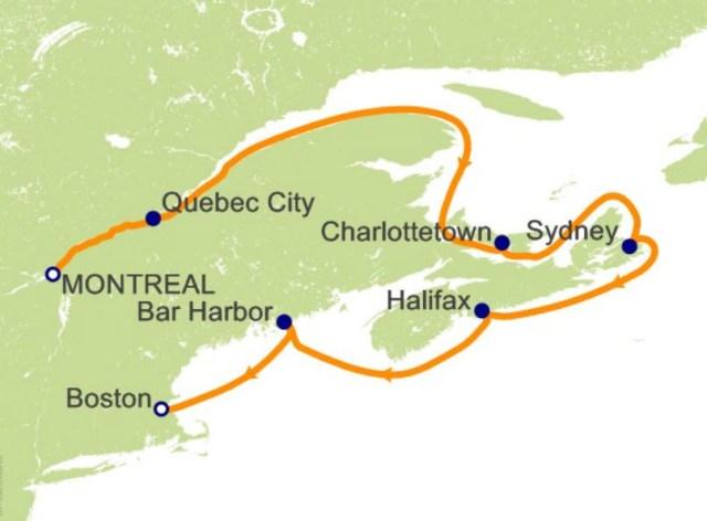 环游世界邮轮 - 新英格兰航程图
