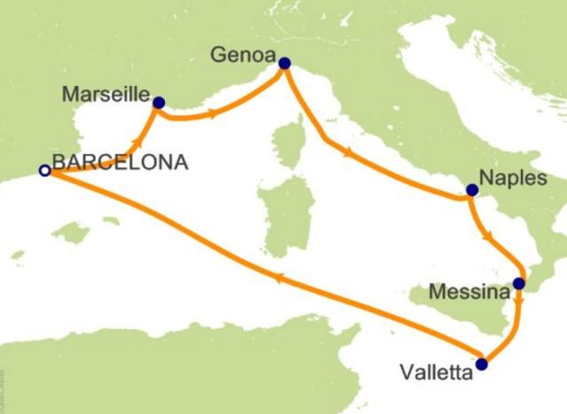 环游世界邮轮 - 西地中海航程图