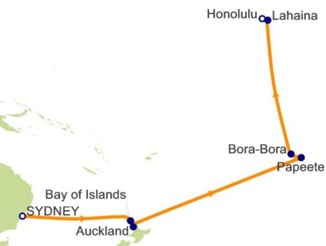 跨太平洋经大溪地航程图