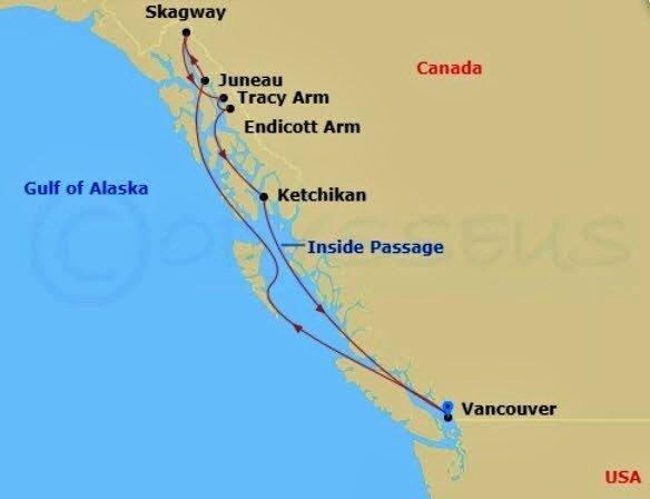 阿拉斯加郵輪 - 溫哥華出發內灣航道圖例