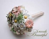 bouquet, brooch, broach, ivory, white, green, mint, peach, pink, pearl, floral, flowers, bridal #broochbeautiful enamel vintage antique